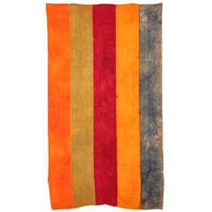 Vintage Kurdish Polychrome Wool Flat-Weave Rug