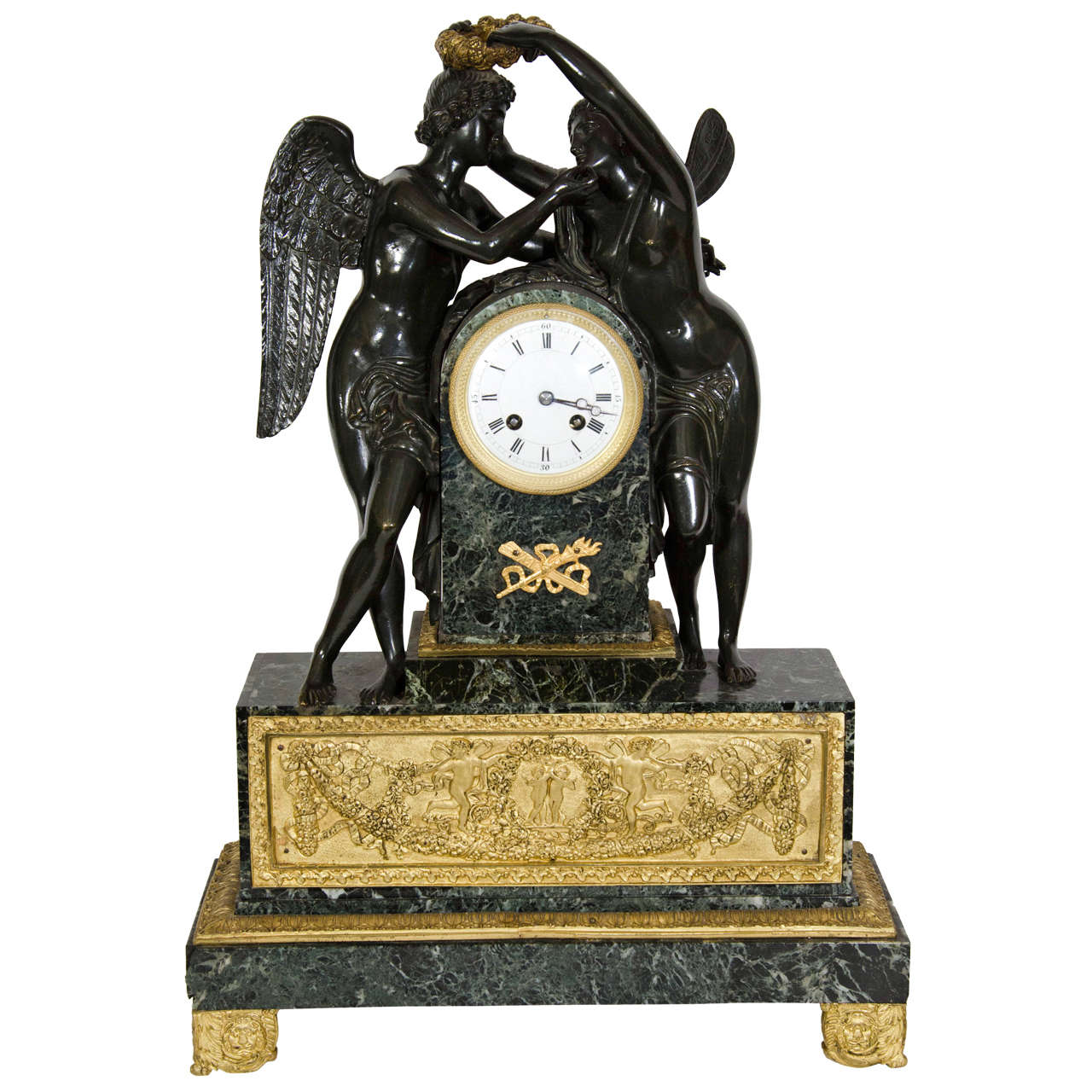 Large Antique French Empire Style Bronze and Marble Figural Clock