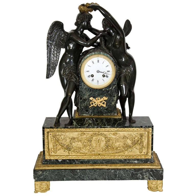 Large Antique French Empire Style Bronze and Marble Figural Clock For Sale