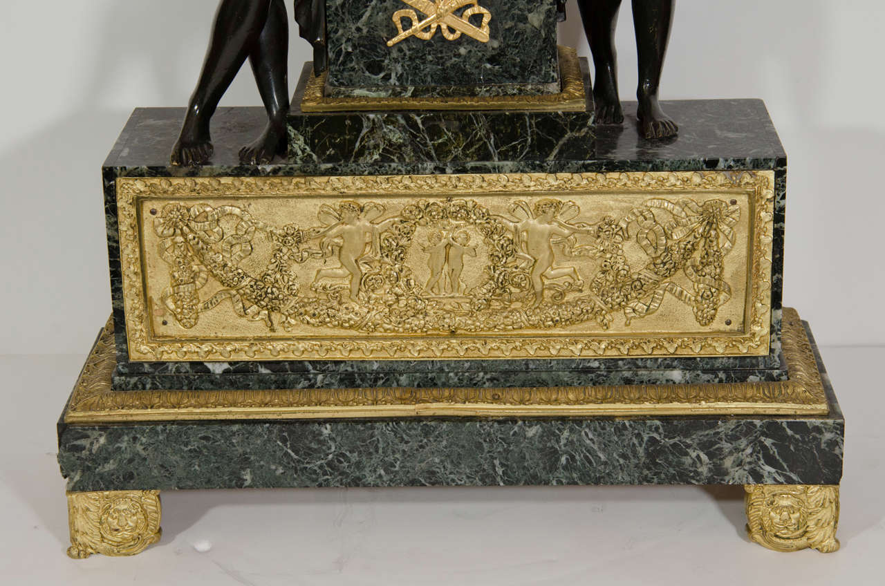 Large Antique French Empire Style Bronze and Marble Figural Clock In Good Condition For Sale In New York, NY
