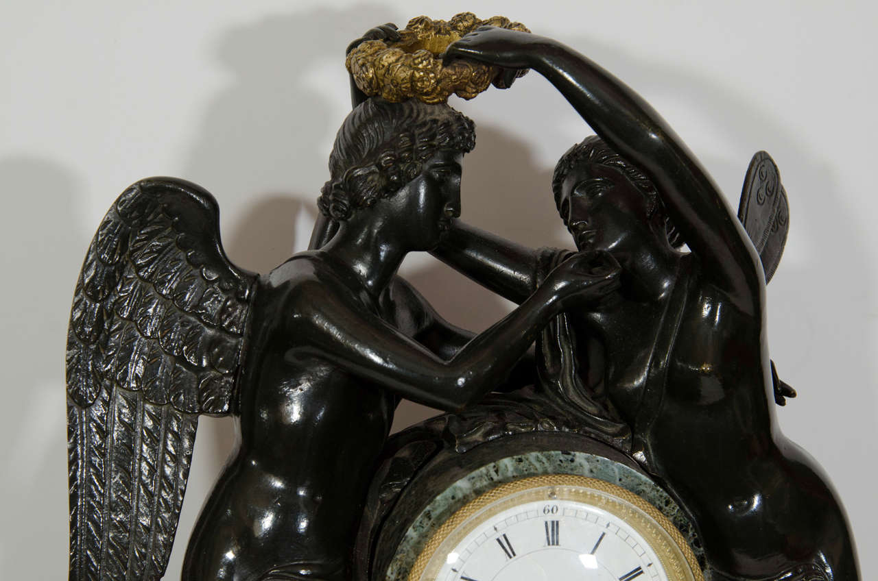 Ormolu Large Antique French Empire Style Bronze and Marble Figural Clock For Sale