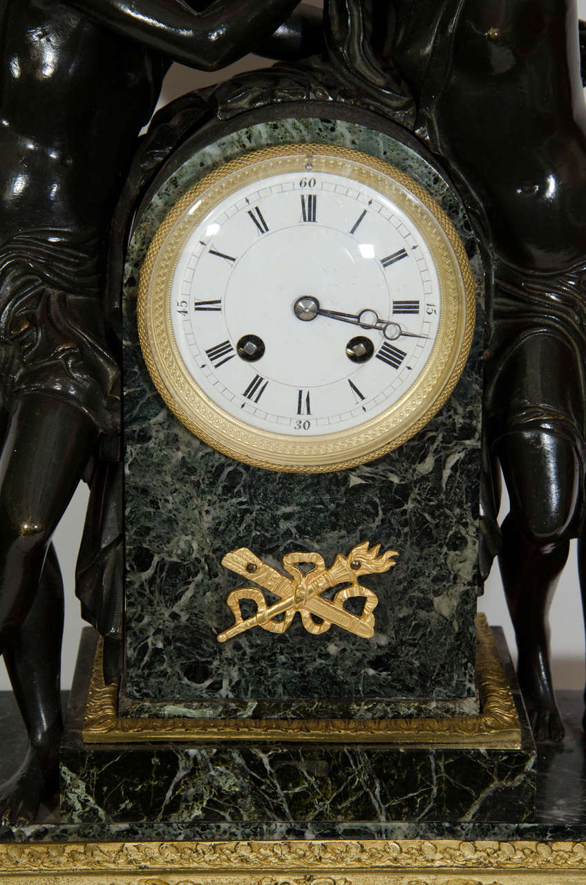 Large Antique French Empire Style Bronze and Marble Figural Clock For Sale 1