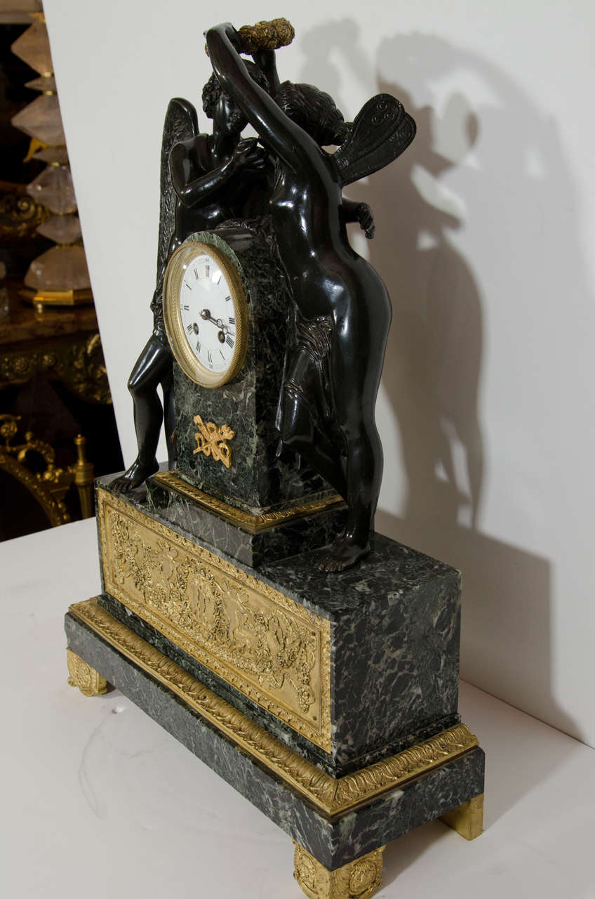 Large Antique French Empire Style Bronze and Marble Figural Clock For Sale 2