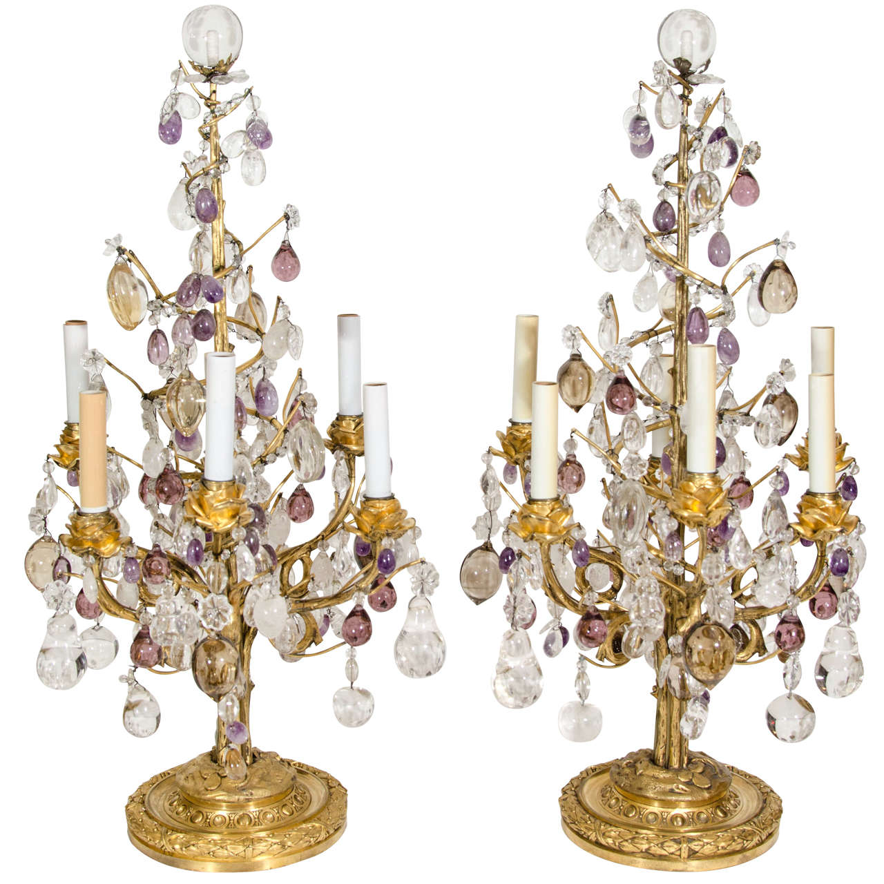 Pair of Superb Antique Louis XVI Style Bagues Gilt Bronze and Rock Crystal Lamps