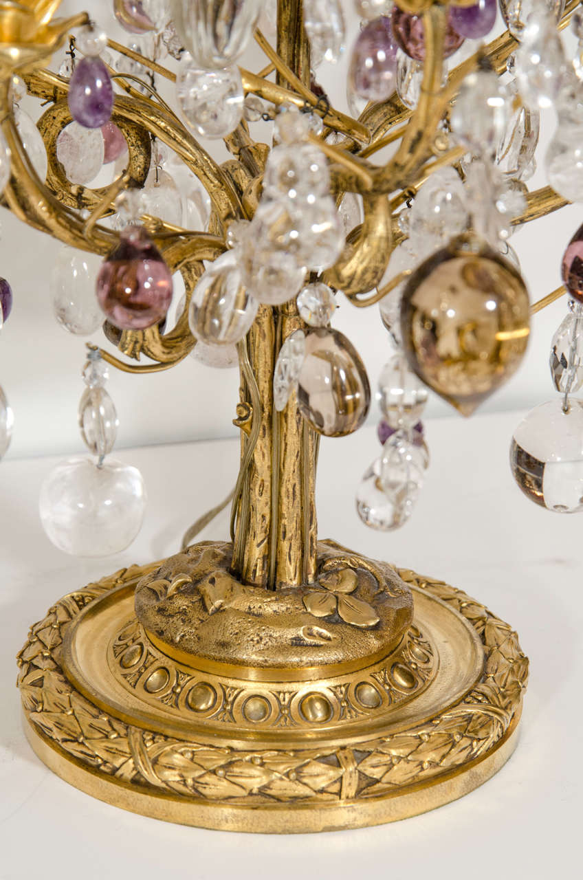 French Pair of Superb Antique Louis XVI Style Bagues Gilt Bronze and Rock Crystal Lamps For Sale