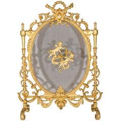 Antique French Louis XVI Style Gilt Bronze Fire Screen