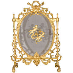 Antique French Louis XVI Style Gilt Bronze Fire Screen