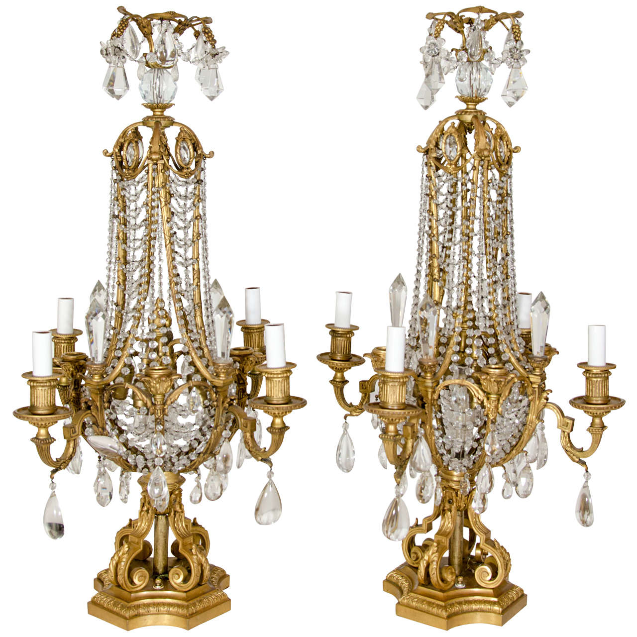 Pair of Antique French Louis XVI Style Gilt Bronze and Crystal