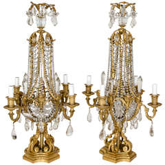 Pair of Antique French Louis XVI Style Gilt Bronze and Crystal Candelabra Lamps