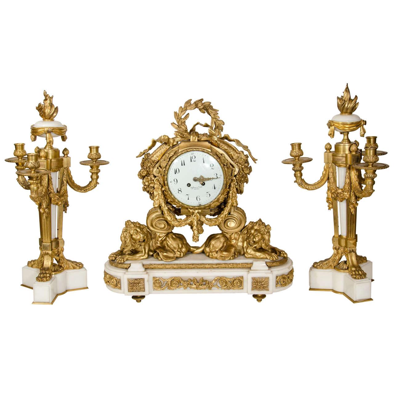 Superb Antique French Louis Xvi Tiffany Clock Set 19th
