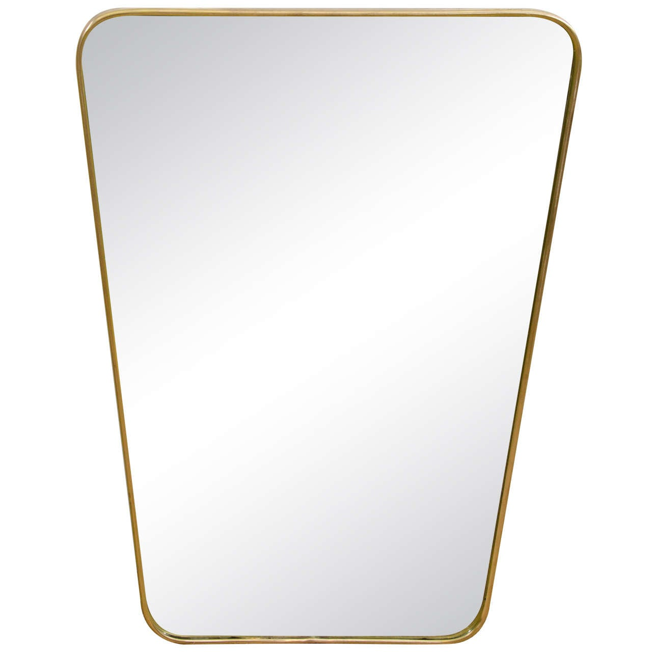This italian circular wooden wall mirror is no longer available - Italian Modernist 1950s Brass Framed Mirror 1