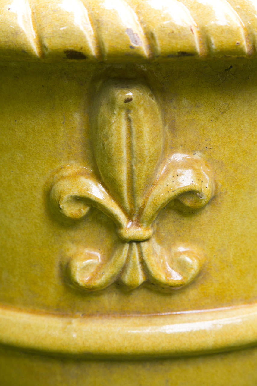 20th Century Yellow Glazed Terra Cotta Planters For Sale