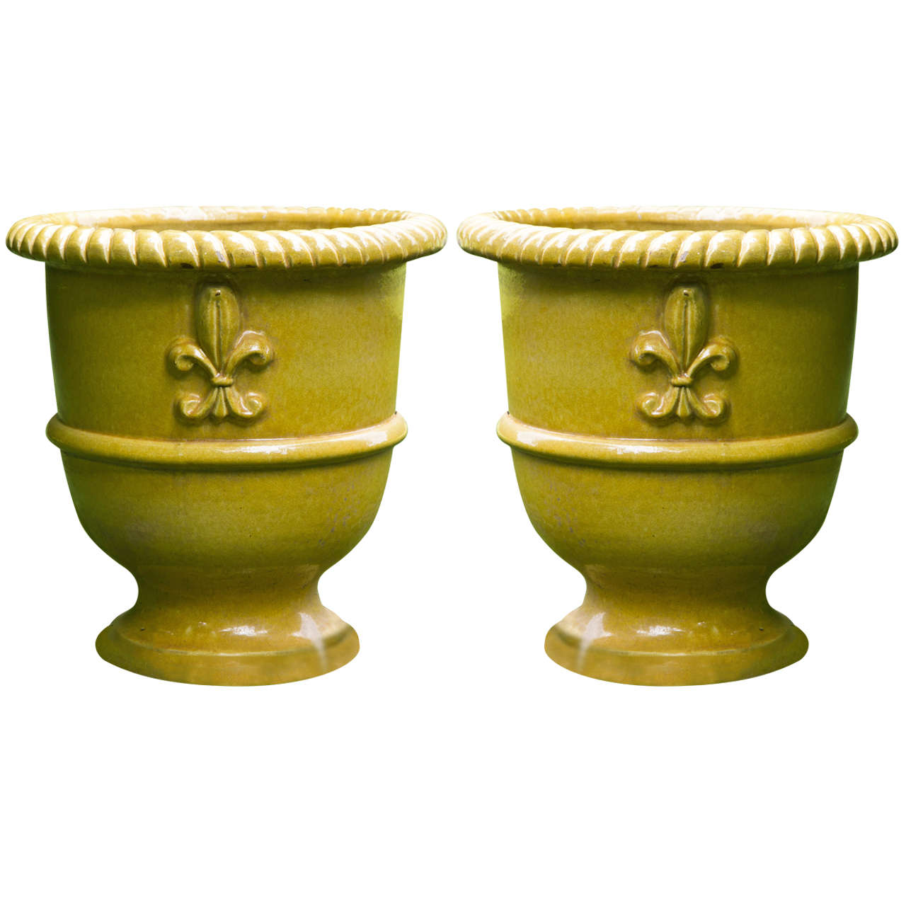 Yellow Glazed Terra Cotta Planters For Sale