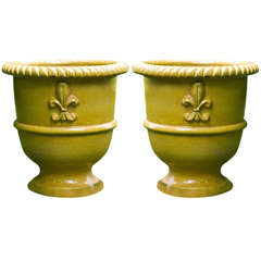 Yellow Glazed Terra Cotta Planters