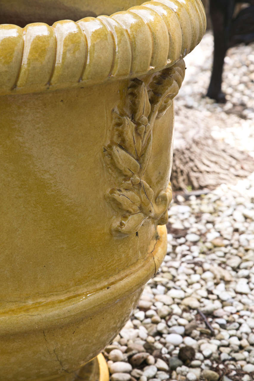 Yellow Glazed Terra Cotta Planters In Good Condition For Sale In Mt Kisco, NY