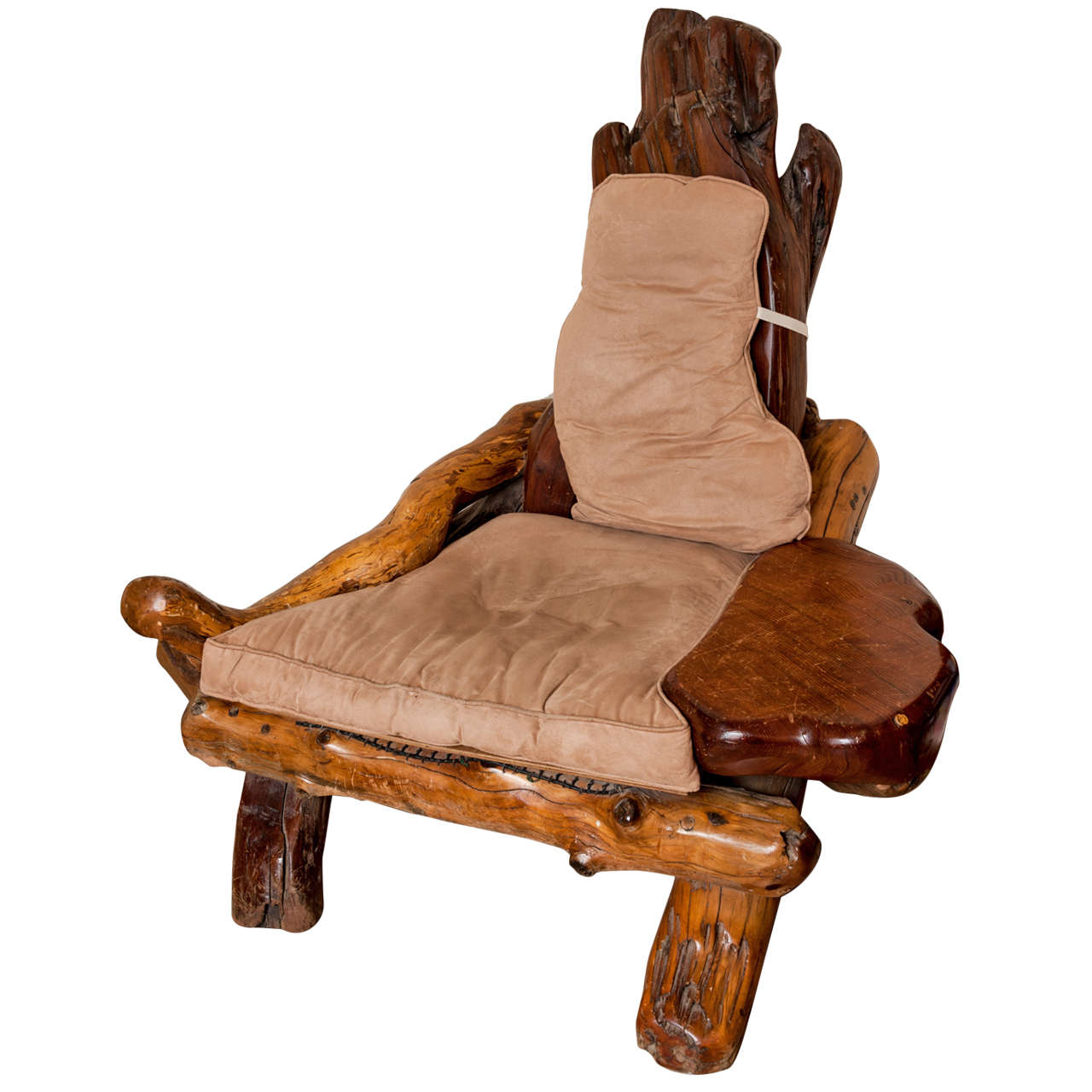 A Rustic Redwood Chair Of Large Proportions At 1stdibs