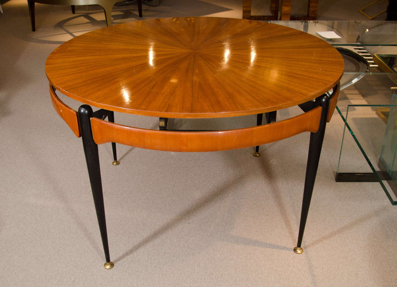 Italian Round Oak Dining or Center Table For Sale