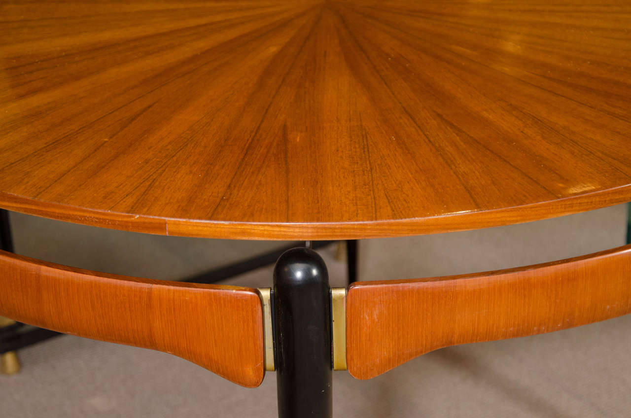 Metal Round Oak Dining or Center Table For Sale
