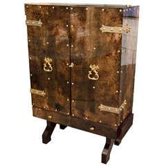 Tortoise Goatskin Bar Cabinet