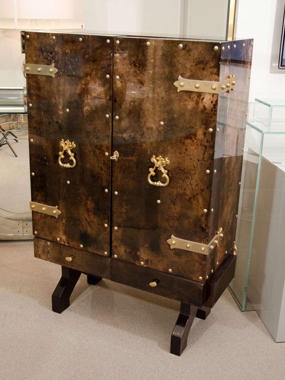 Mid-Century Modern Tortoise Goatskin Bar Cabinet For Sale