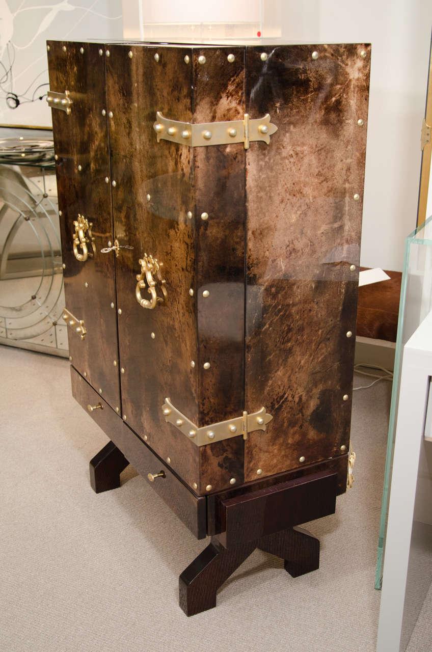 Italian Tortoise Goatskin Bar Cabinet For Sale