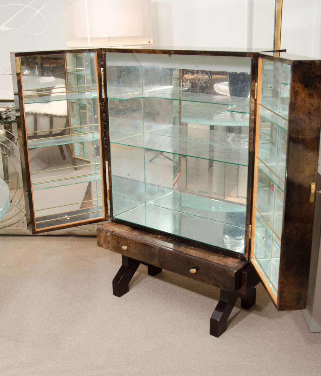 Mid-20th Century Tortoise Goatskin Bar Cabinet For Sale