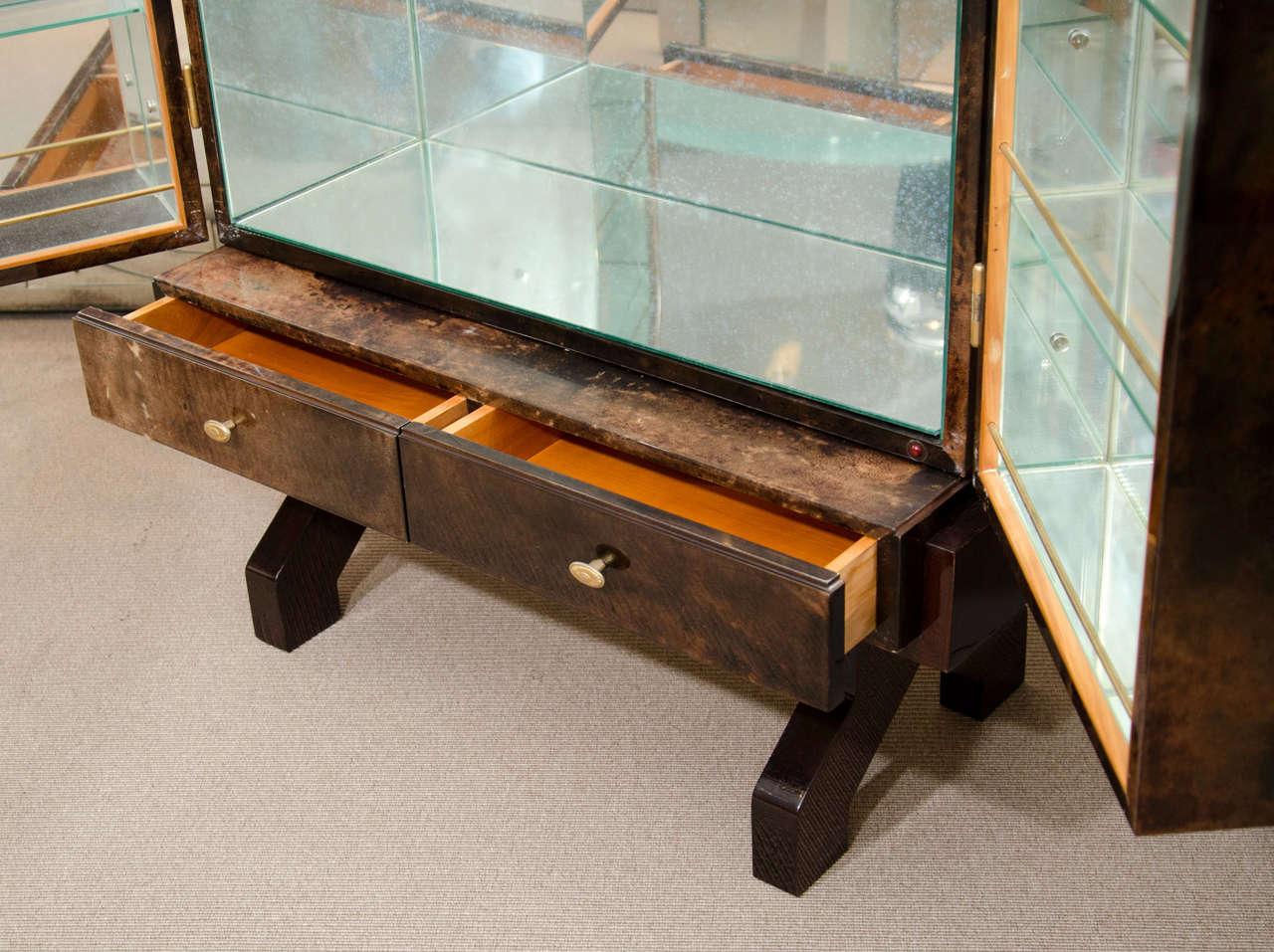 Brass Tortoise Goatskin Bar Cabinet For Sale