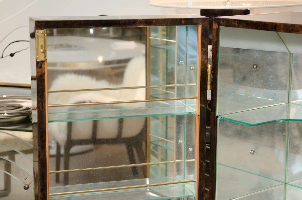 Tortoise Goatskin Bar Cabinet For Sale 1