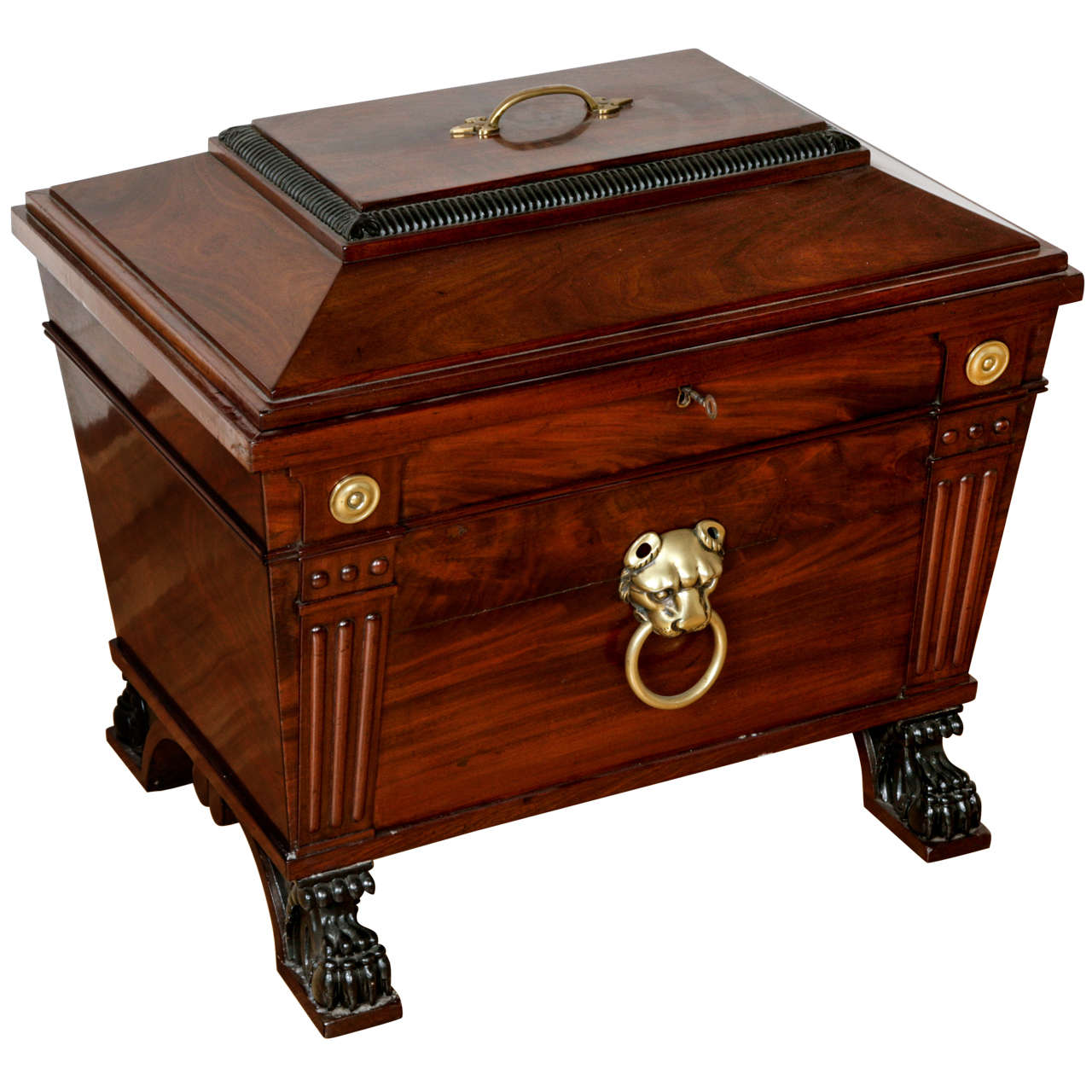 George IV Style Brass-Mounted Mahogany Wine Cooler For Sale