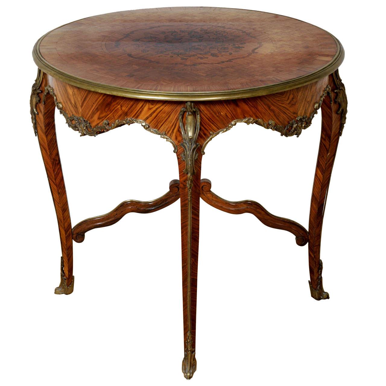 Louis XV Style Ormolu-Mounted Parquetry Circular Centre Table