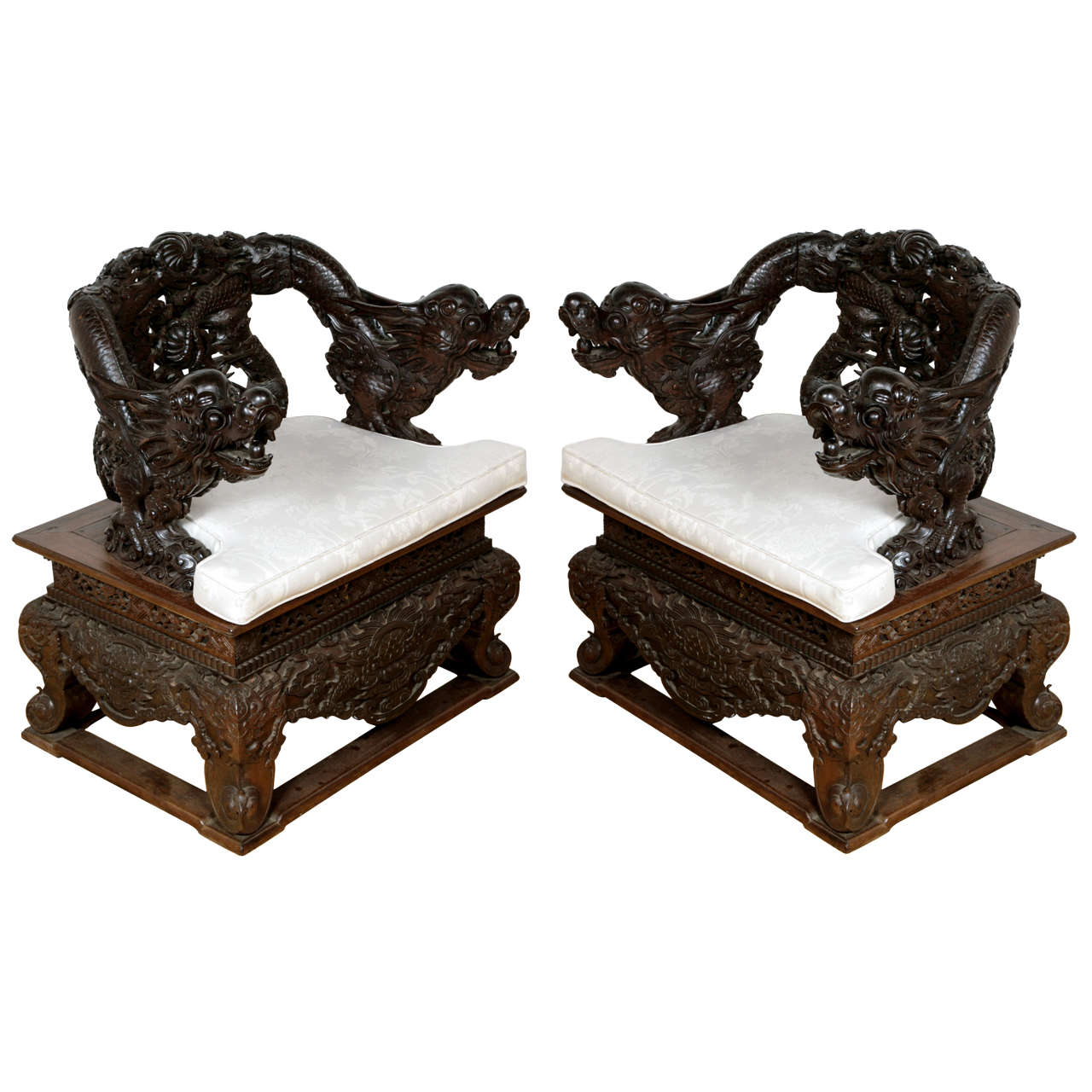 Pair of Qing Dynasty Hongmu Armchairs For Sale