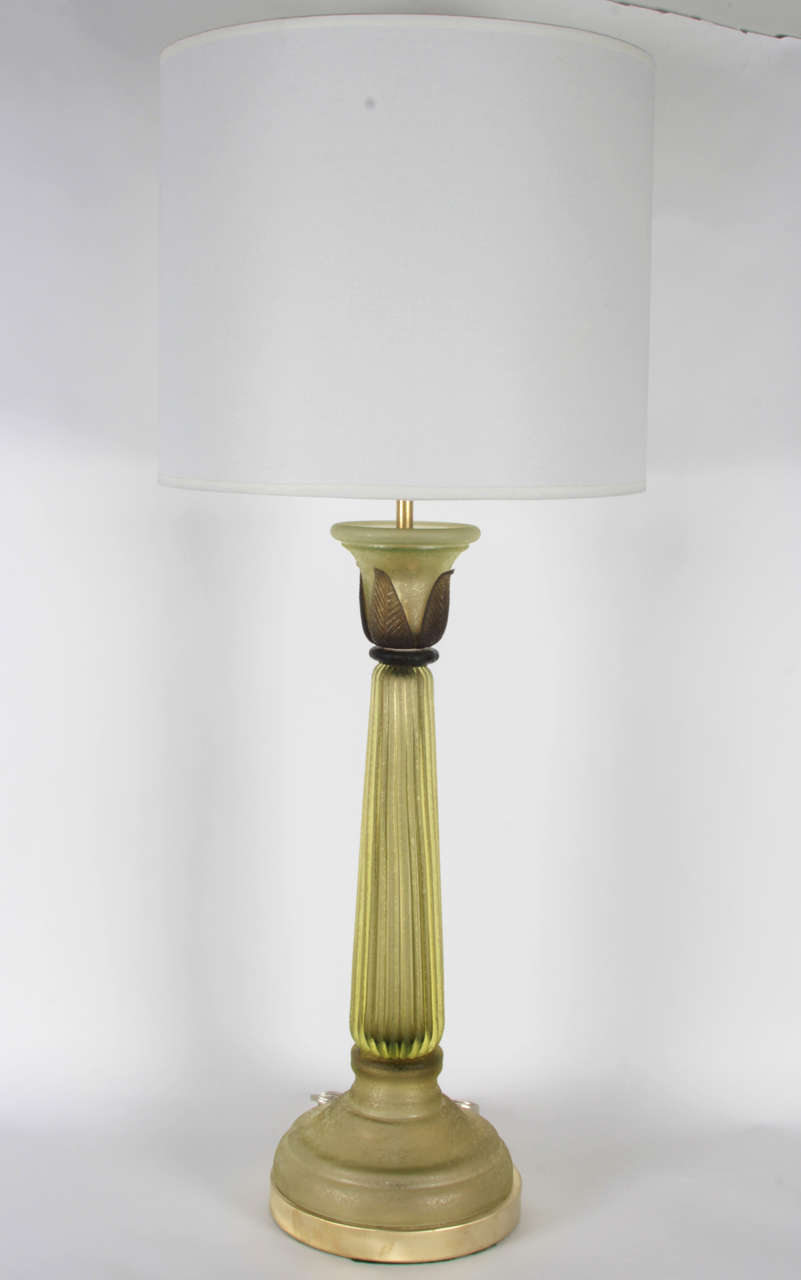 Pair of Celery Green Glass Lamps by Seguso 2