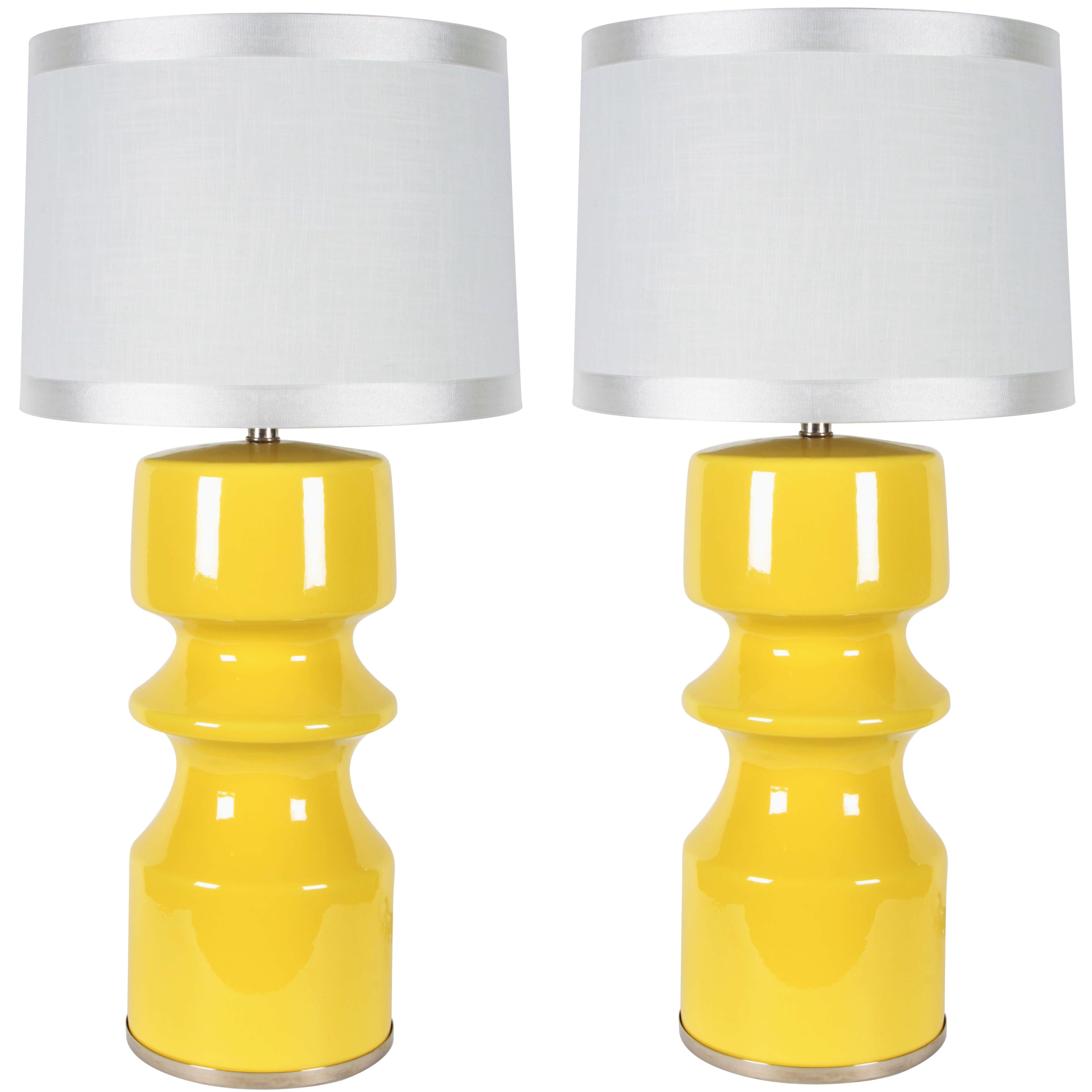 Pair of Yellow Ceramic Totem  Shaped Lamps