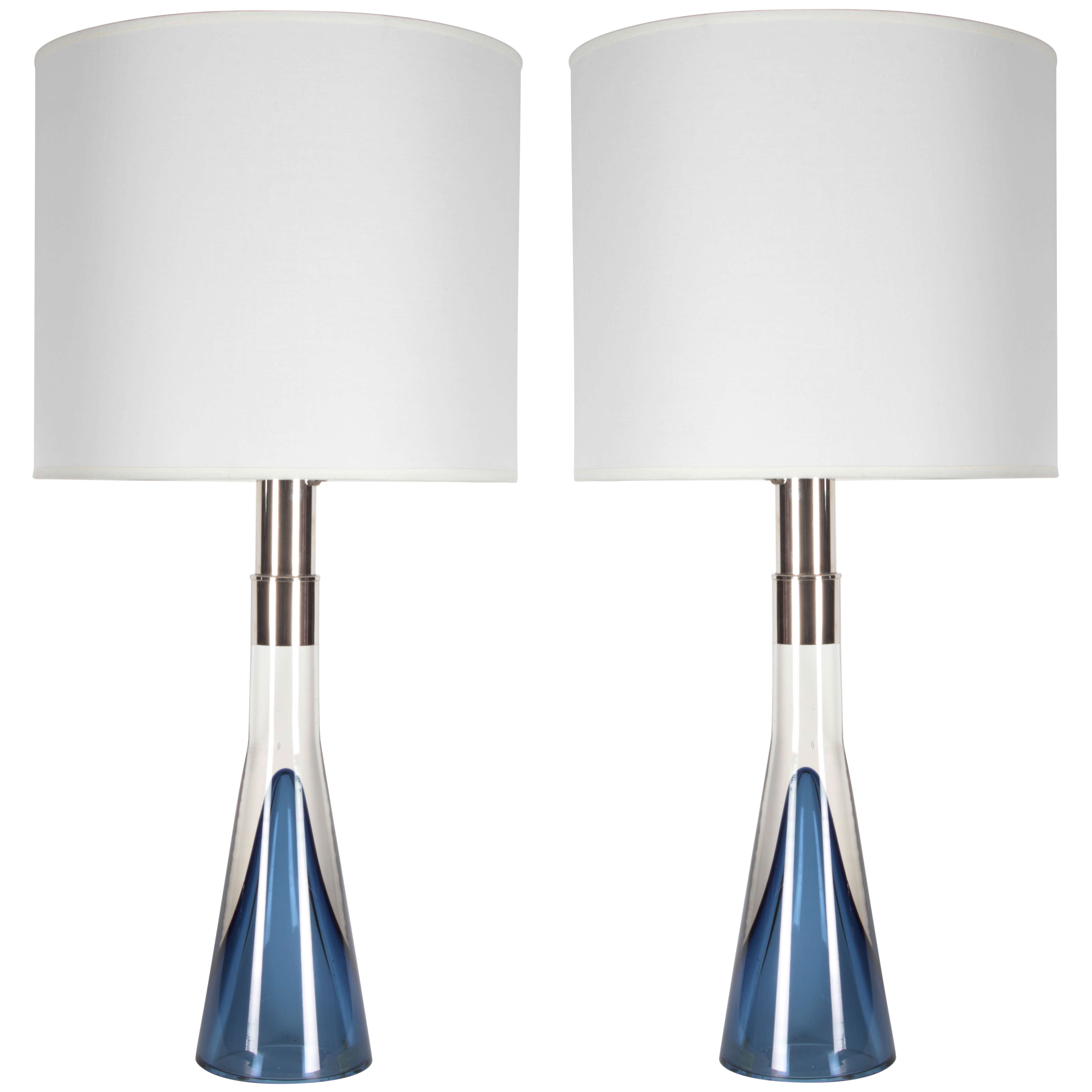 Pair of Clear & Blue Crystal Lamps by Lisa Johansson-Pape