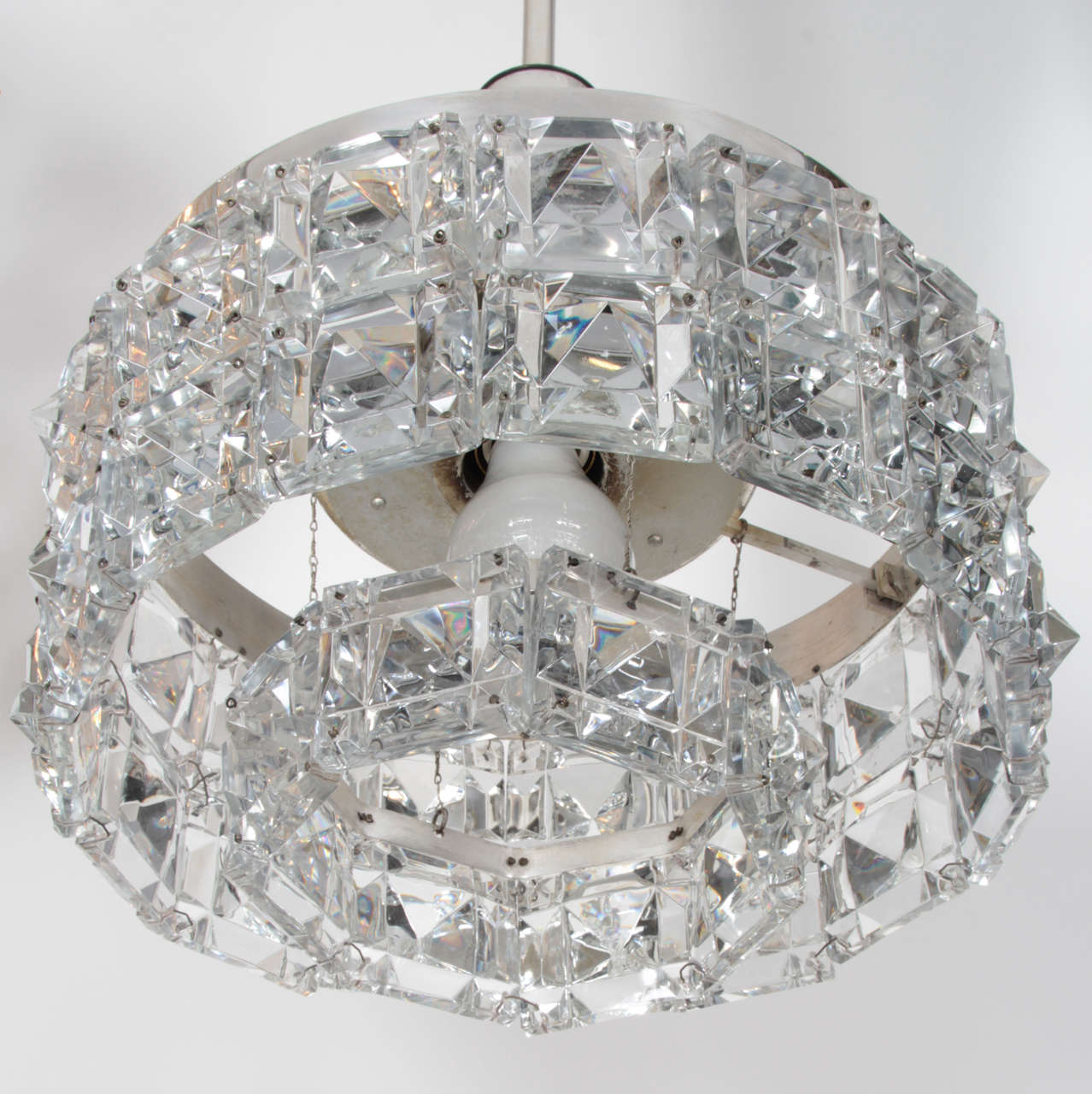 Kinkeldey faceted crystal prism chandelier for sale at 1stdibs austrian art deco drum chandelier composed of three rows of deep faceted square crystal prisms on aloadofball Gallery