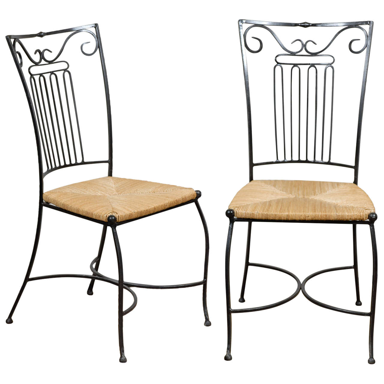 Pair of Iron Chairs with Rush Seats