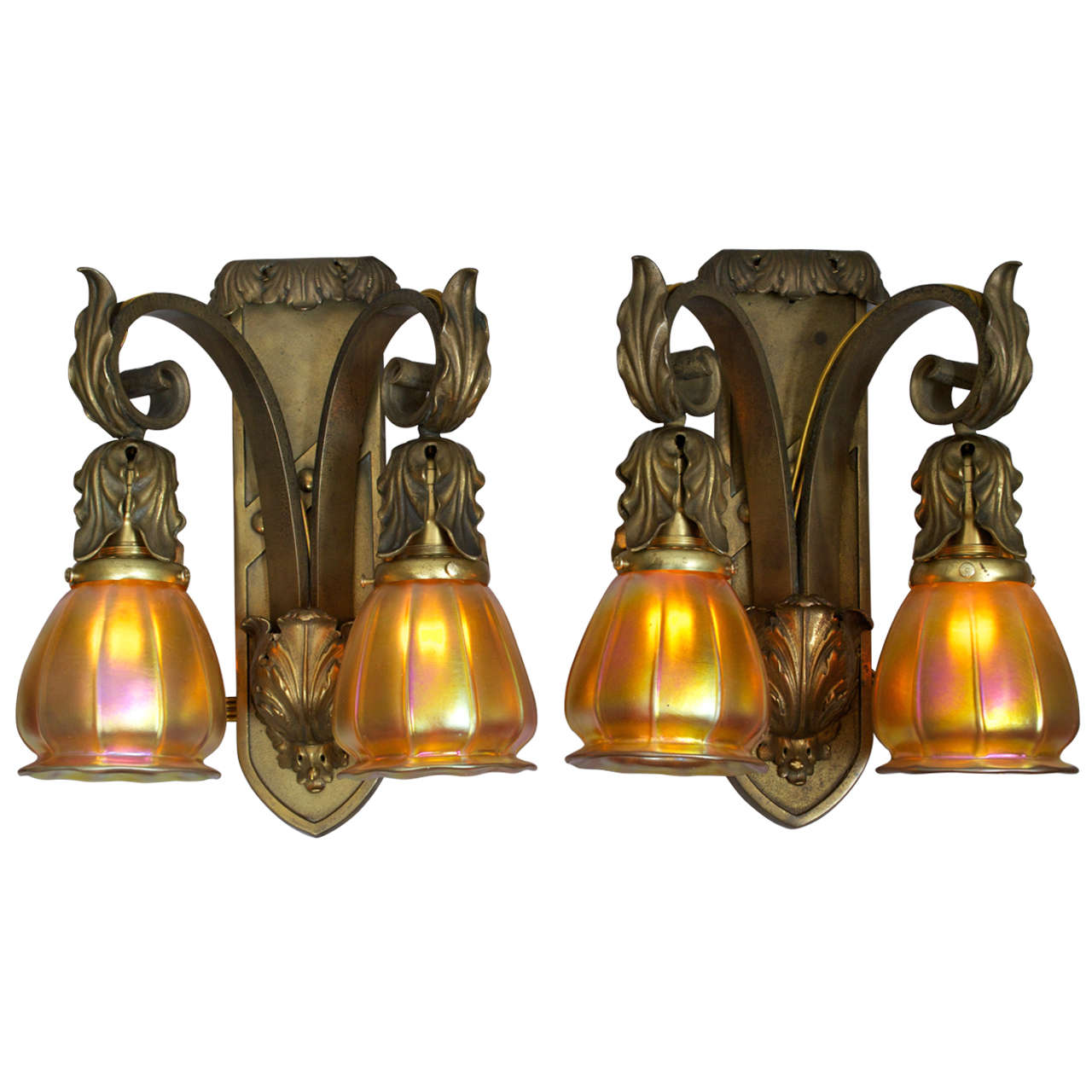 Wall Sconces Hand Blown Glass : Pair of Gilt Bronze Two Arm Sconces with Hand Blown Steuben Glass at 1stdibs