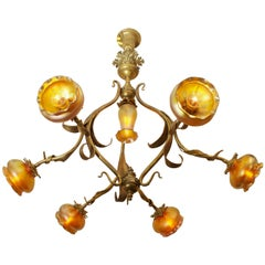 Art Nouveau Chandelier with Handblown Shades