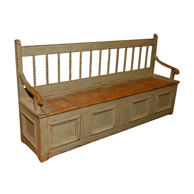 Long Green Canadian Bench With Spinles And Storage At 1stdibs