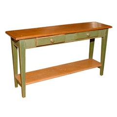 Canadian Sofa Table in Green Paint