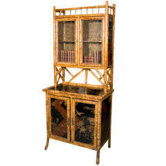 Antique English Bamboo and Lacquer Bookcase Etagere