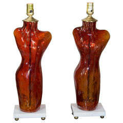 Vintage Pair Red Glass 'Torso' Lamps Marble Bases