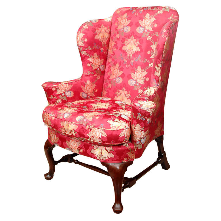 18th Queen Anne Mahogany Wing Chair at 1stdibs