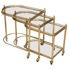Maison Jansen Brass Rolling Nesting Tables