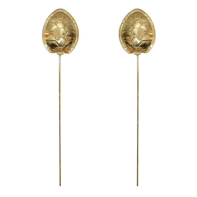 Pair of brass tortoise shell form sconces by Chapman at 1stdibs
