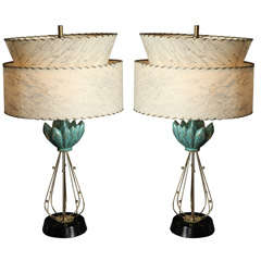 Pair of Atomic 1950s Porcelain Turquoise and Gold Lotus Shaped Table Lamps