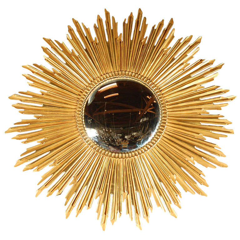 gold sunburst mirror. Large Gold Leaf Sunburst Mirror For Sale B