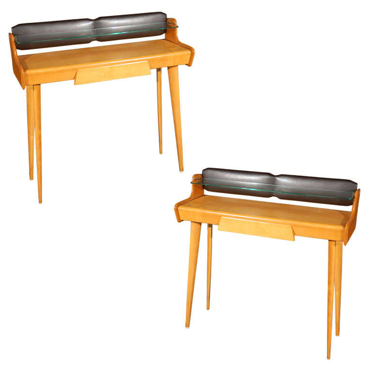 Pair of Italian Midcentury Vanities/Consoles by Carlo di Carli For Sale