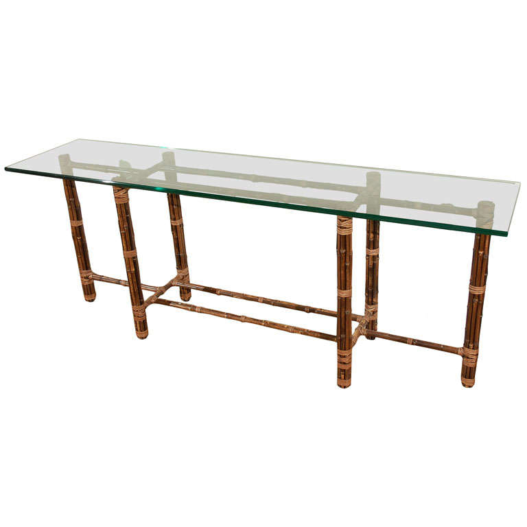 McGuire Bamboo + Glass Console/Sofa Table 1