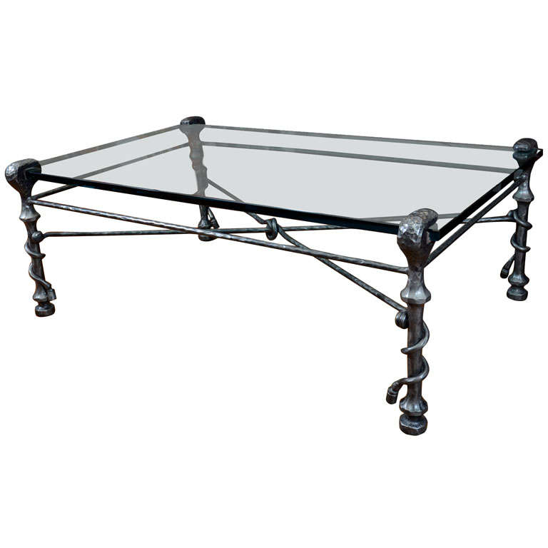 Hammered Wrought Iron And Glass Coffee Table 20th Century At 1stdibs